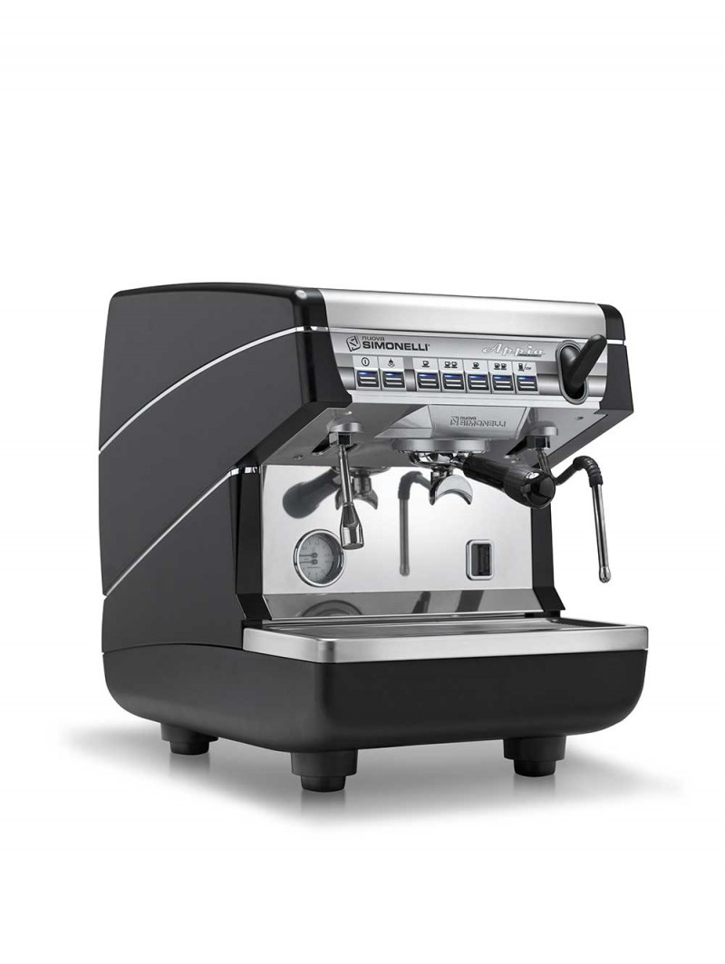 This image is a front-side view of the Nuova Simonelli Appia II 1 group espresso machine in black, with tall/raised brew group height and volumetric dosing controls.