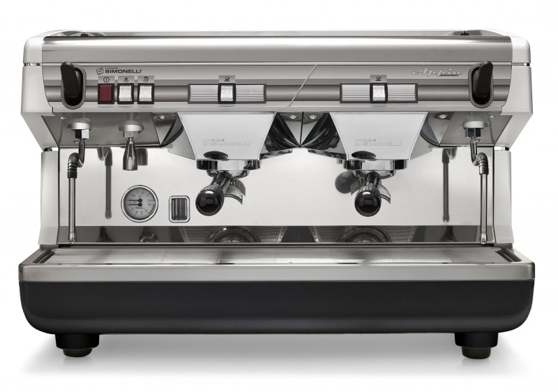This image is a front view of the Nuova Simonelli Appia II 2 group espresso machine in White, with traditional brew group height and semi-automatic dosing controls.