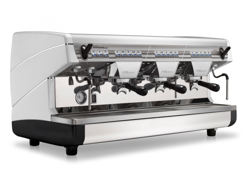 This image is a front-side view of the Nuova Simonelli Appia II 3 group espresso machine in White, with traditional brew group height and volumetric dosing controls.