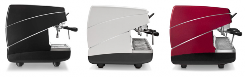 Image is a side view of 3 Nuova Simonelli Appia II Compact 2 group espresso machines in Standard Black, White, and Red.