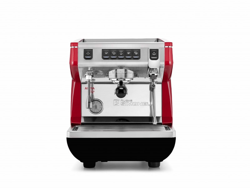 Front view of the a red Nuova Simonelli Appia Life with one group.