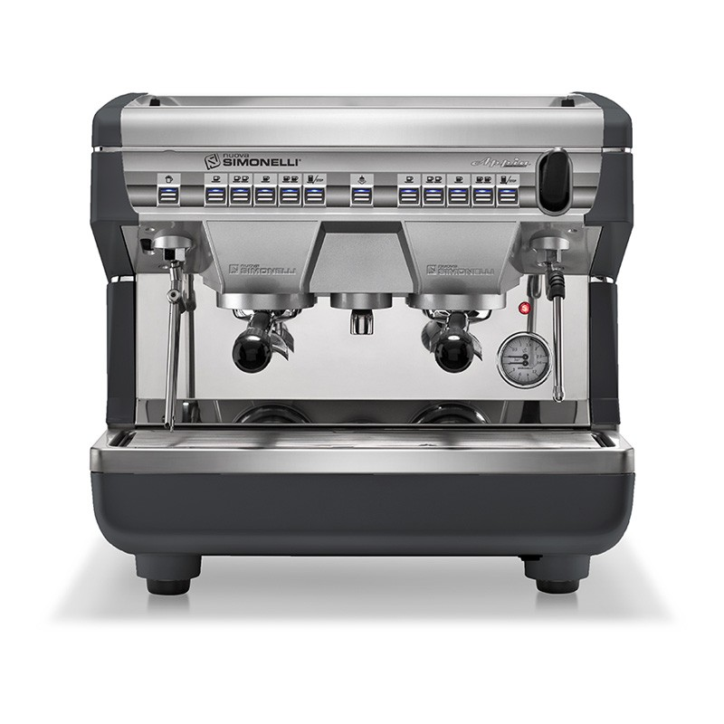 Image is a front view of the Nuova Simonelli Appia II Compact 2 group espresso machine in Standard Black, with traditional brew group height and volumetric dosing controls.