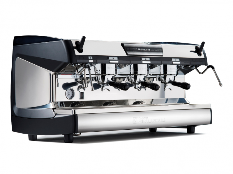 This image is a front-side view of the Nuova Simonelli Aurelia II 3 group espresso machine in Black, with traditional brew group height and semi-automatic dosing controls.