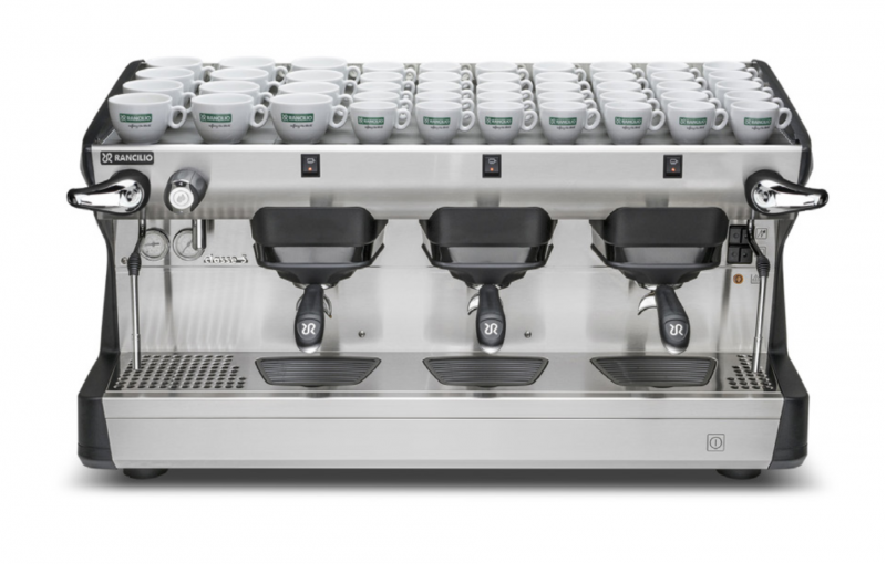 This image is a front view of the Rancilio Classe 5 3 group espresso machine in Anthracite Black, with traditional brew group height and semi-automatic dosing controls.