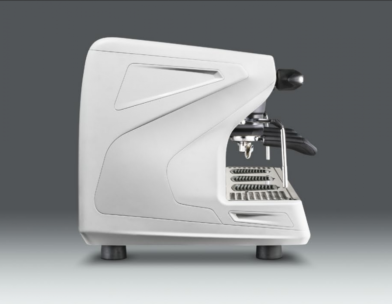 This image is a side view of the Rancilio Classe 5 espresso machine in Ice White, with 3 groups at traditional height with USB volumetric dosing.