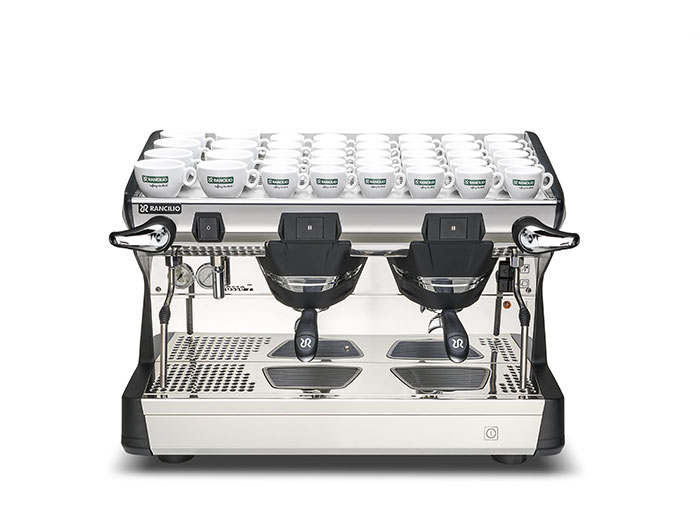 This image is a front view of the Rancilio Classe 7 2 group espresso machine in Anthracite Black, with traditional brew group height and semi-automatic dosing controls.