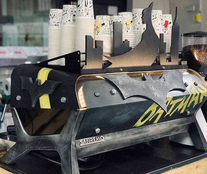 Customized F.18 by Sanremo Coffee Machines utilizing Batman Theme-Color-Design and Logo