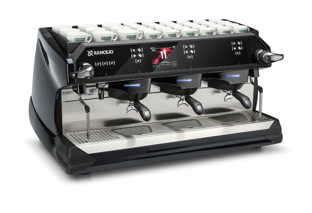 This image is a front-side view of the Rancilio Classe 11 USB espresso machine in Midnight Blue with 3 groups traditional height and volumetric dosing controls.