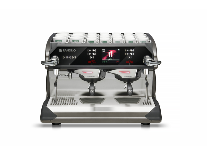 This image is a front view of the Rancilio Classe 11 Xcelsius in frozen bronze, 2 groups at traditional height and volumetric dosing controls.