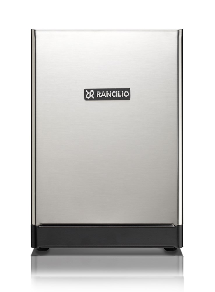 This image is a back panel view of the Rancilio Sylvia home espresso machine, 1 group at traditional height, with semi-automatic dosing controls.