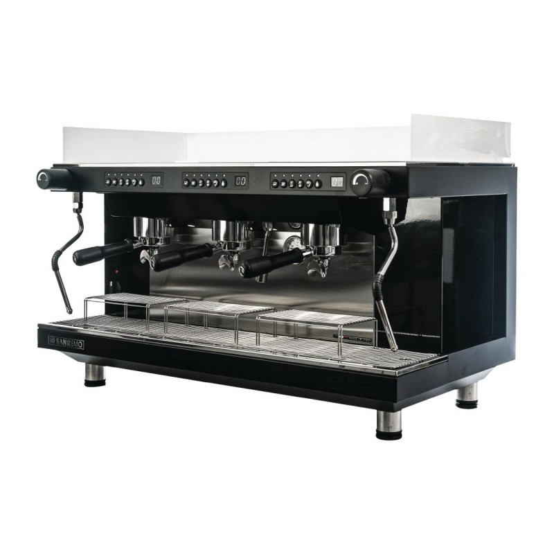 This is an image of the three group Zoe Competition commercial espresso machine by Sanremo, in the color black, with tall/raised group height, and volumetric dosing programming.