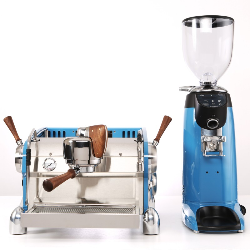 Slayer Espresso 1 Group, Body Powder Coated Blue, X-Legs Plated in Chrome, Black Walnut Wood Accents, with Grinder Custom Powder Coated Blue