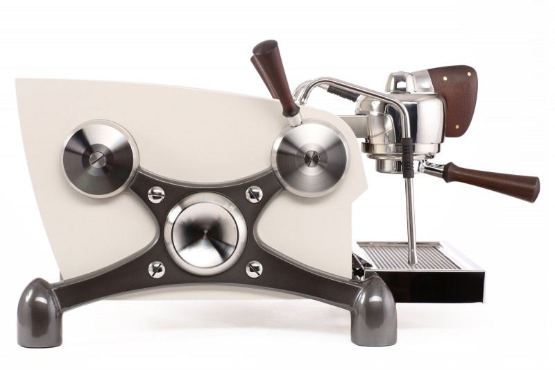 Slayer Espresso 1 Group, Body Powder Coated White, X-Legs Powder Coated Charcoal, Accents in Peruvian Walnut