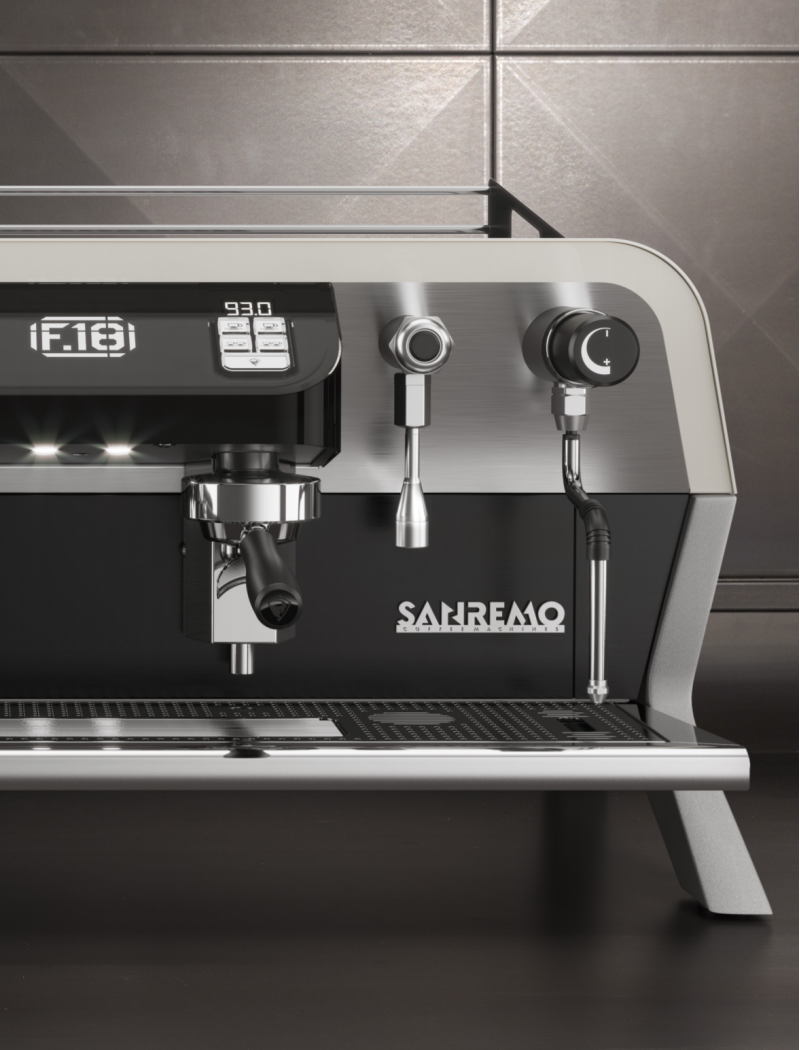 Brew Group of the F.18 with digital display of temperature and shot time by Sanremo Coffee Machines