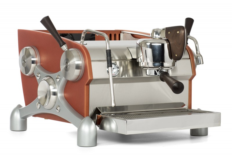 Slayer Espresso 1 Group, Body Powder Coated Dark Orange, X-Legs Powder Coated Silver, Peruvian Walnut Wood Accents