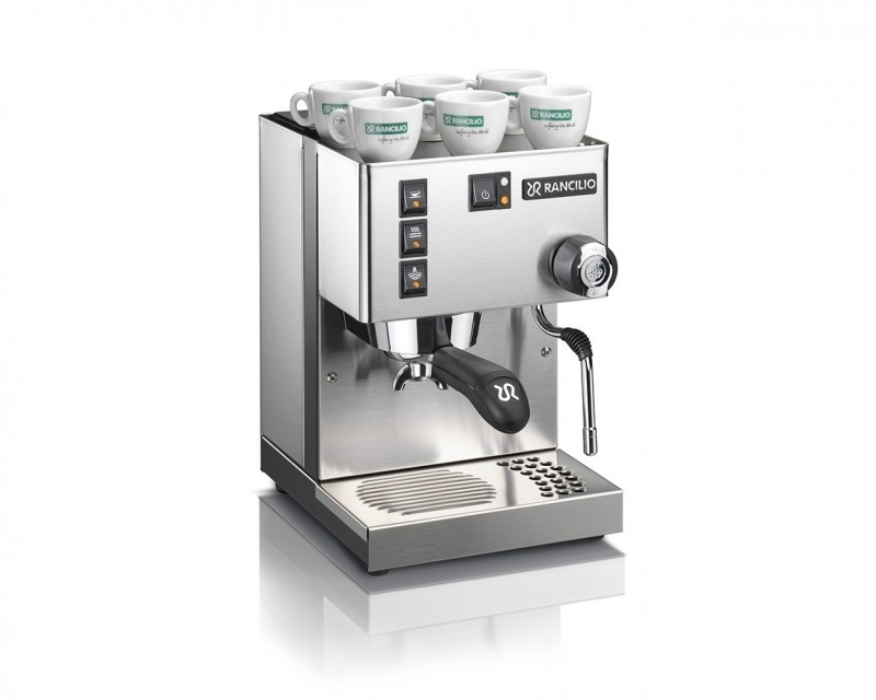 This image is a front-side view of the Rancilio Sylvia home espresso machine, 1 group at traditional height, with semi-automatic dosing controls.